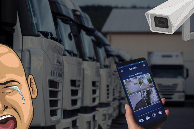 トラックと監視カメラと空き巣のイメージ画像