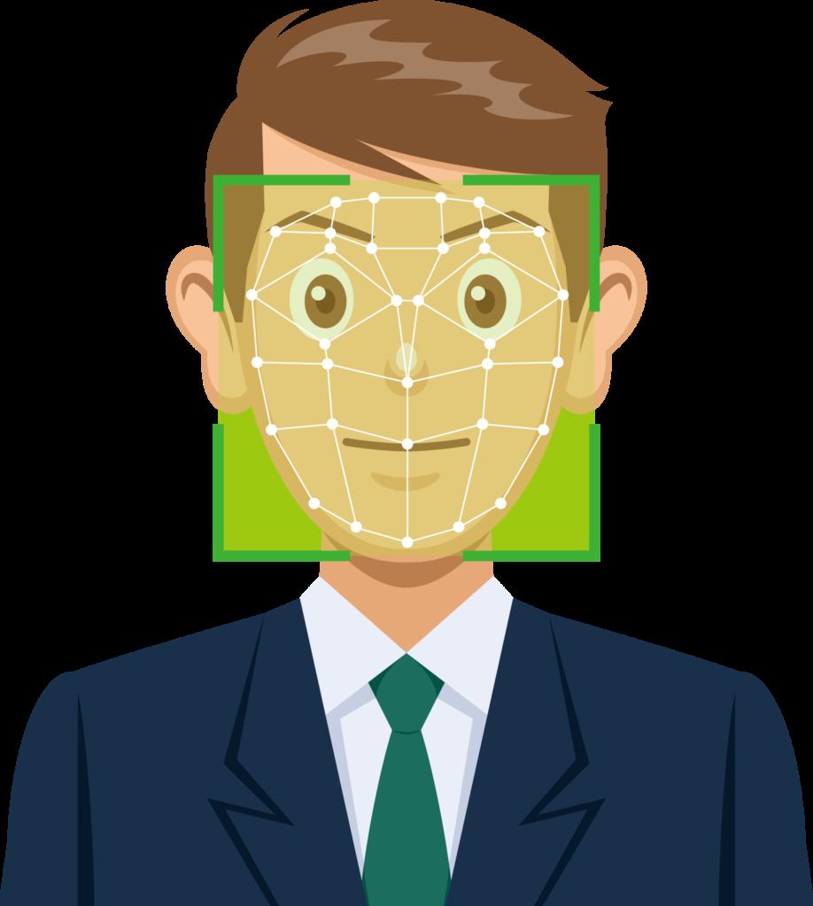 男性の顔認識をしているイメージイラスト
